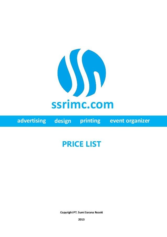 Pricelist Percetakan SSR IMC