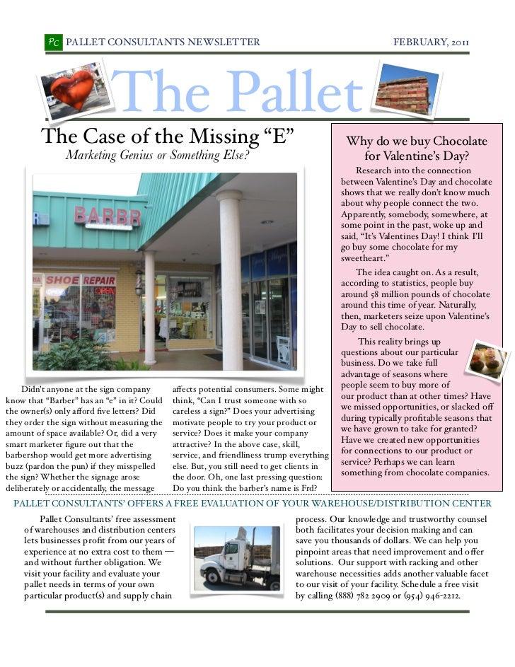 PC   PALLET CONSULTANTS NEWSLETTER!                                                       FEBRUARY, 2011                  ...