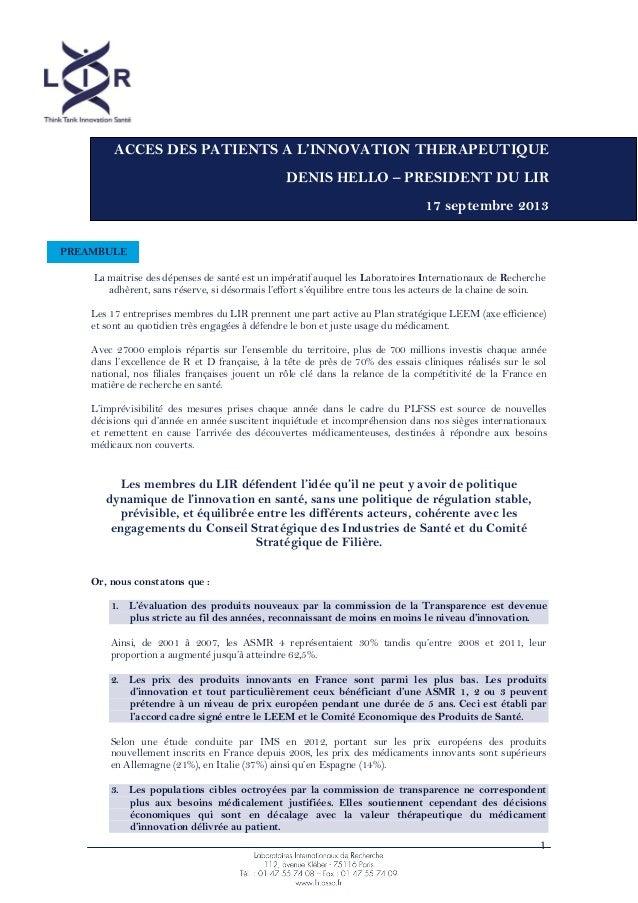 1 La maitrise des dépenses de santé est un impératif auquel les Laboratoires Internationaux de Recherche adhèrent, sans ré...