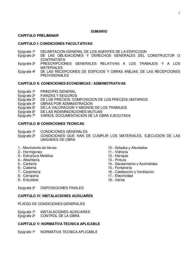 1                                         SUMARIOCAPITULO PRELIMINARCAPITULO I: CONDICIONES FACULTATIVASEpígrafe 1º   DELI...
