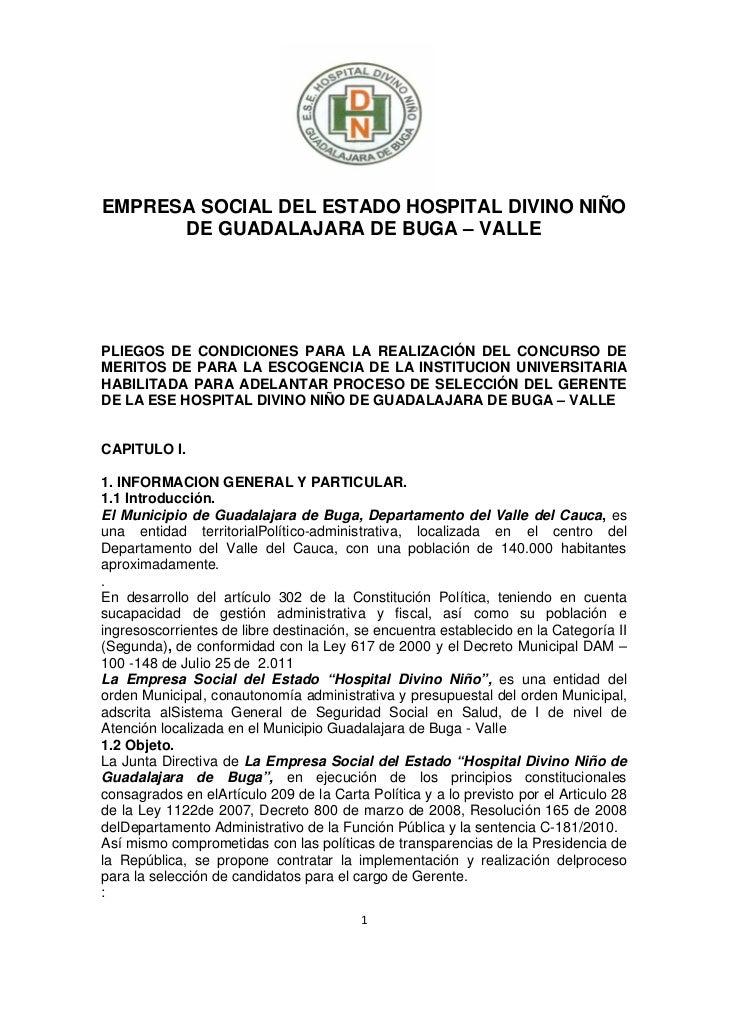 EMPRESA SOCIAL DEL ESTADO HOSPITAL DIVINO NIÑO      DE GUADALAJARA DE BUGA – VALLEPLIEGOS DE CONDICIONES PARA LA REALIZAC...