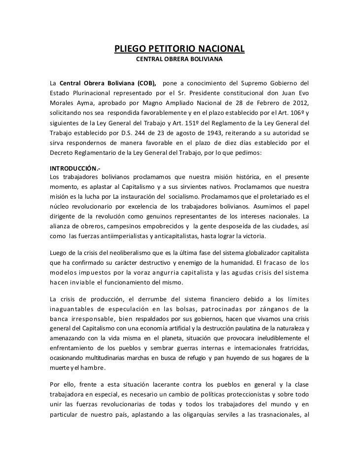 PLIEGO PETITORIO NACIONAL                                CENTRAL OBRERA BOLIVIANALa Central Obrera Boliviana (COB), pone a...