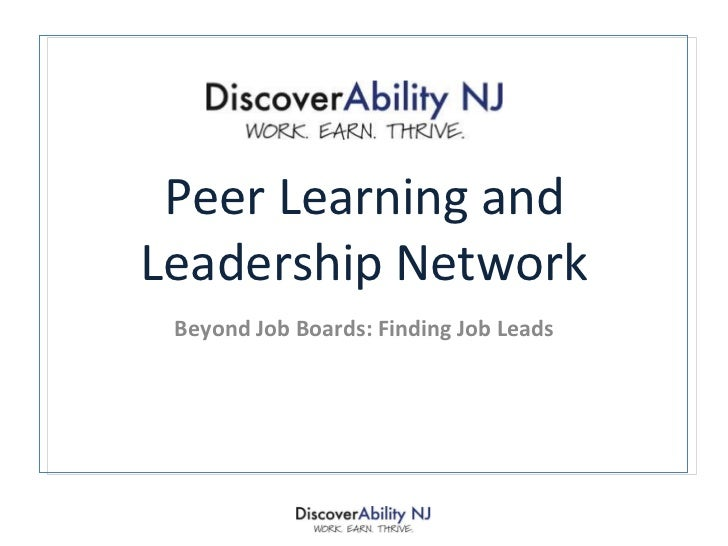 Peer Learning and Leadership Network Beyond Job Boards: Finding Job Leads