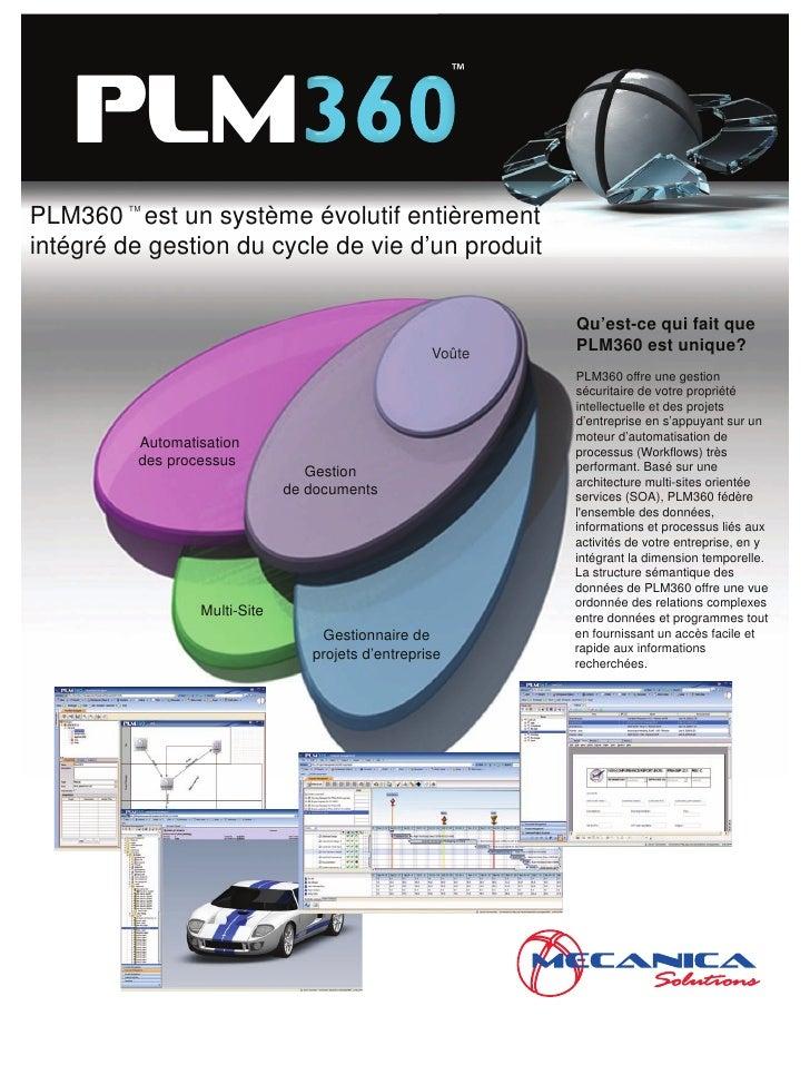 ™      PLM PLM360 est un système évolutif entièrement          TM               TM    intégré de gestion du cycle de vie d...