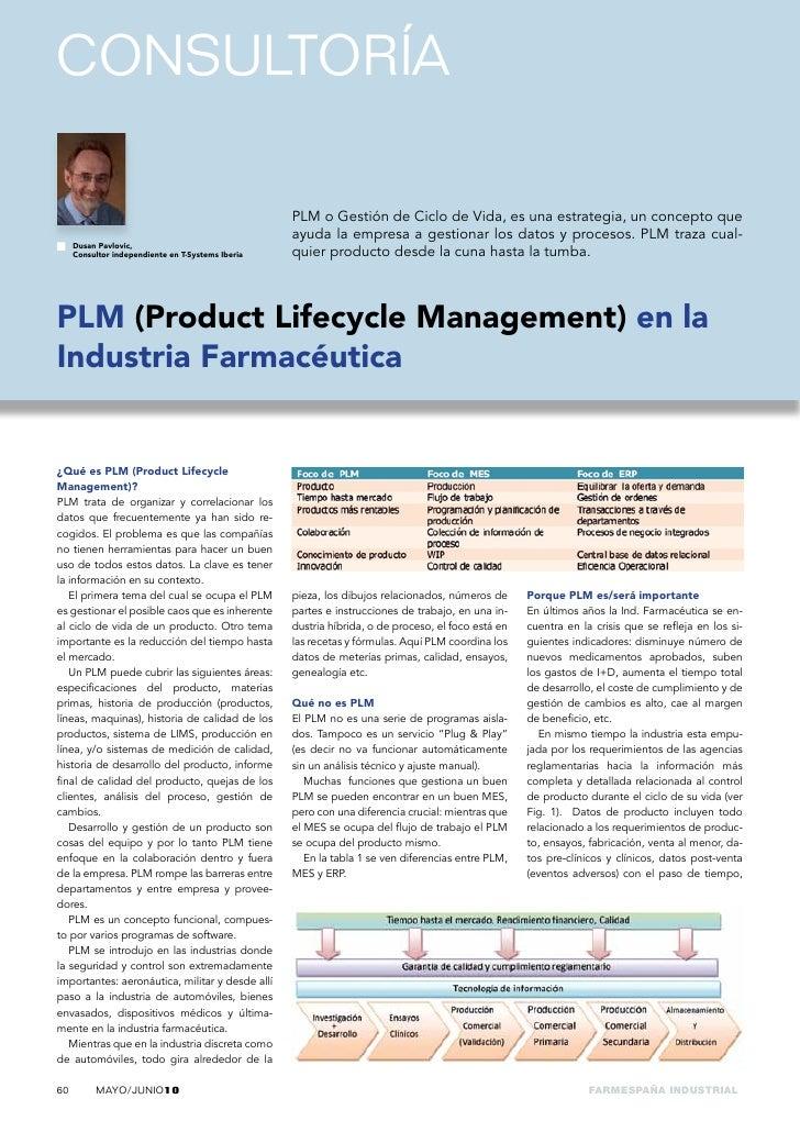 consultoría                                                     PLM o Gestión de Ciclo de Vida, es una estrategia, un conc...