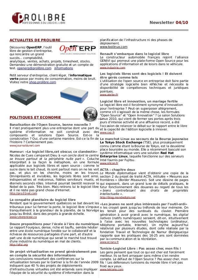 Newsletter 04/10ACTUALITES DE PROLIBRE                                           planification de l'infrastructure ni des ...