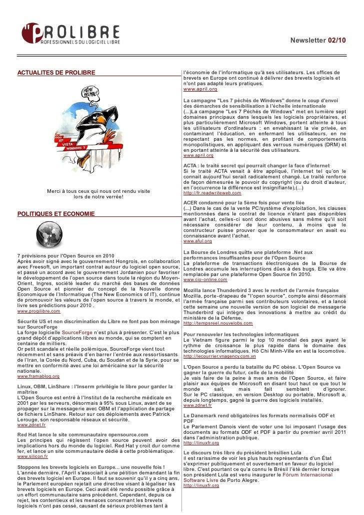 Newsletter 02/10    ACTUALITES DE PROLIBRE                                                  l'économie de l'informatique q...