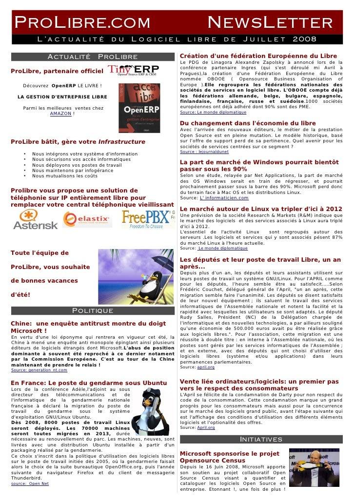 ProLibre.com                                                                          NewsLetter            L'actualité du...