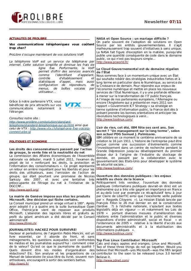 Newsletter 07/11ACTUALITES DE PROLIBRE                                          NASA et Open Source : un mariage difficile...