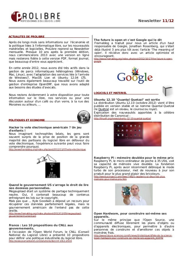 Newsletter 11/12ACTUALITES DE PROLIBRE                                                                       The future is...