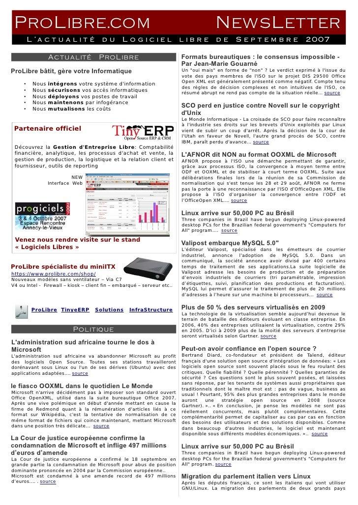 ProLibre.com                                                                          NewsLetter          L'actualité     ...