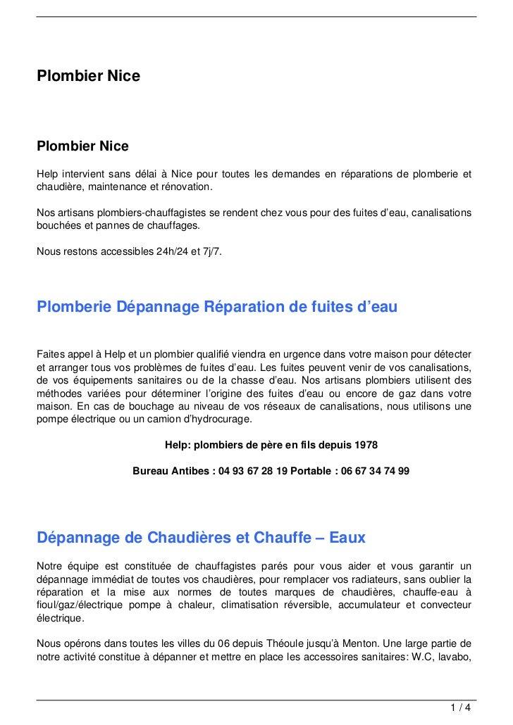 Plombier NicePlombier NiceHelp intervient sans délai à Nice pour toutes les demandes en réparations de plomberie etchaudiè...
