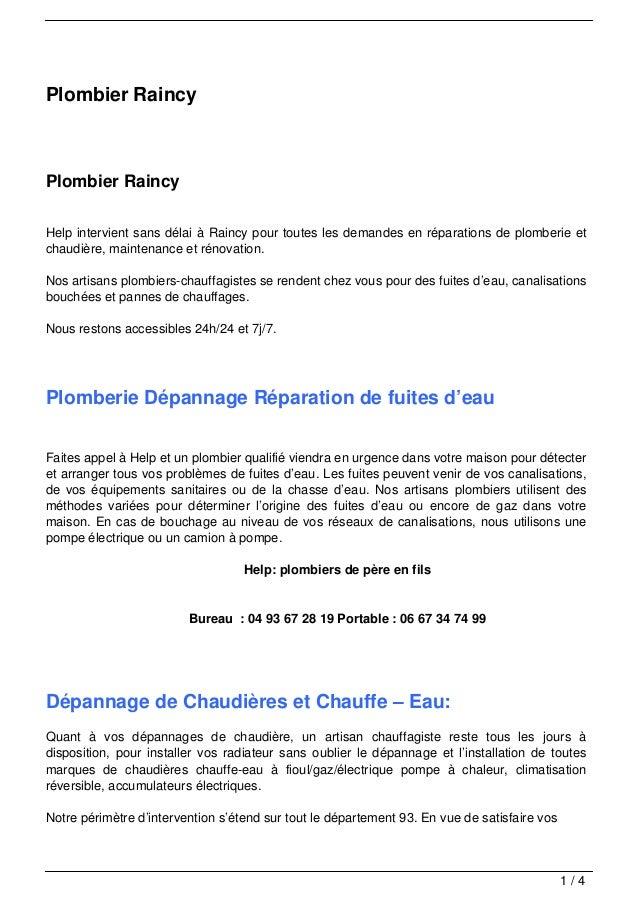 Plombier Raincy