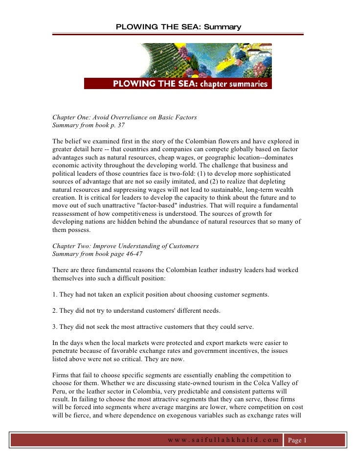 PLOWING THE SEA: Summary     Chapter One: Avoid Overreliance on Basic Factors Summary from book p. 37  The belief we exami...