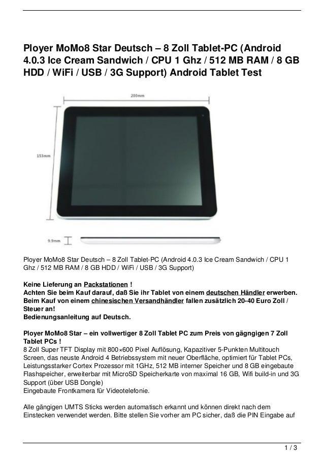 Ployer MoMo8 Star Deutsch – 8 Zoll Tablet-PC (Android4.0.3 Ice Cream Sandwich / CPU 1 Ghz / 512 MB RAM / 8 GBHDD / WiFi / ...
