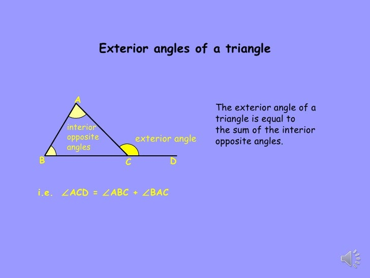 Polygon properties 9b for Exterior angle property of a triangle proof