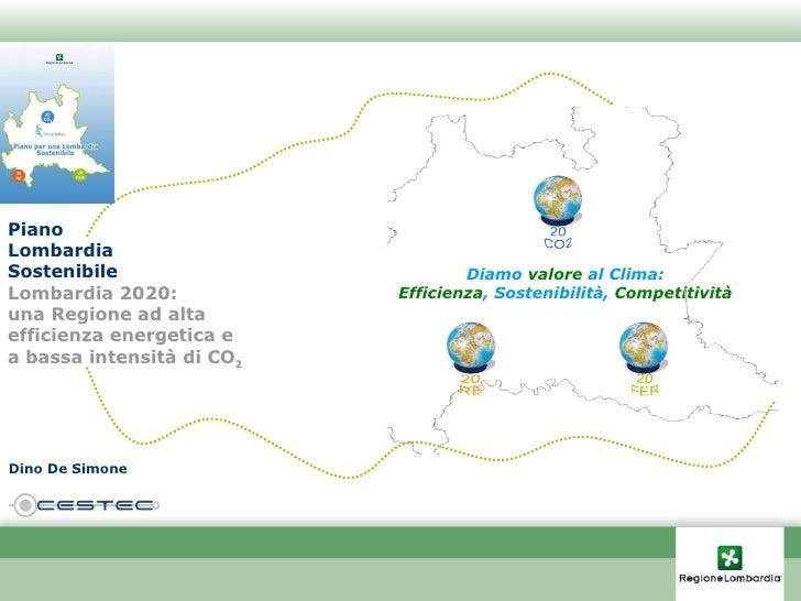Piano Lombardia Sostenibile Lombardia 2020:  una Regione ad alta efficienza energetica e a bassa intensità di CO 2 Diamo  ...