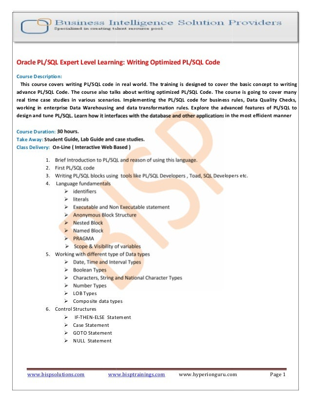 Plsql for advance learners