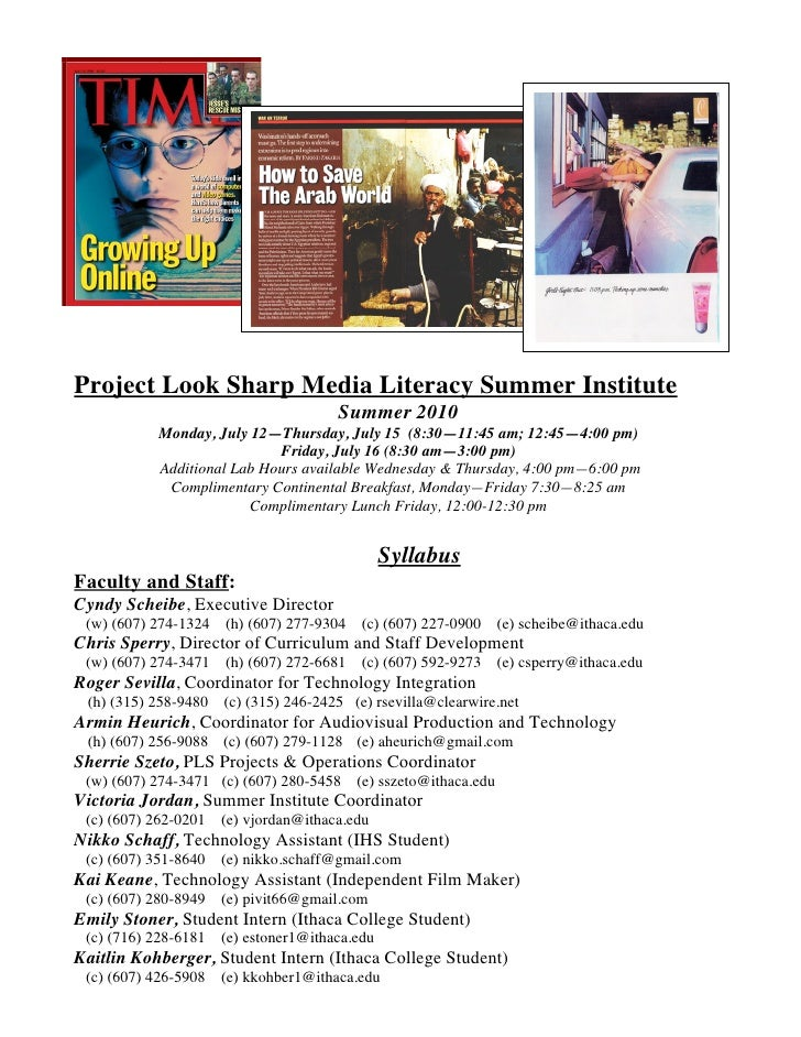 Project Look Sharp Media Literacy Summer Institute                                       Summer 2010            Monday, Ju...
