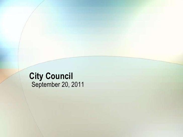 City Council<br />September 20, 2011<br />