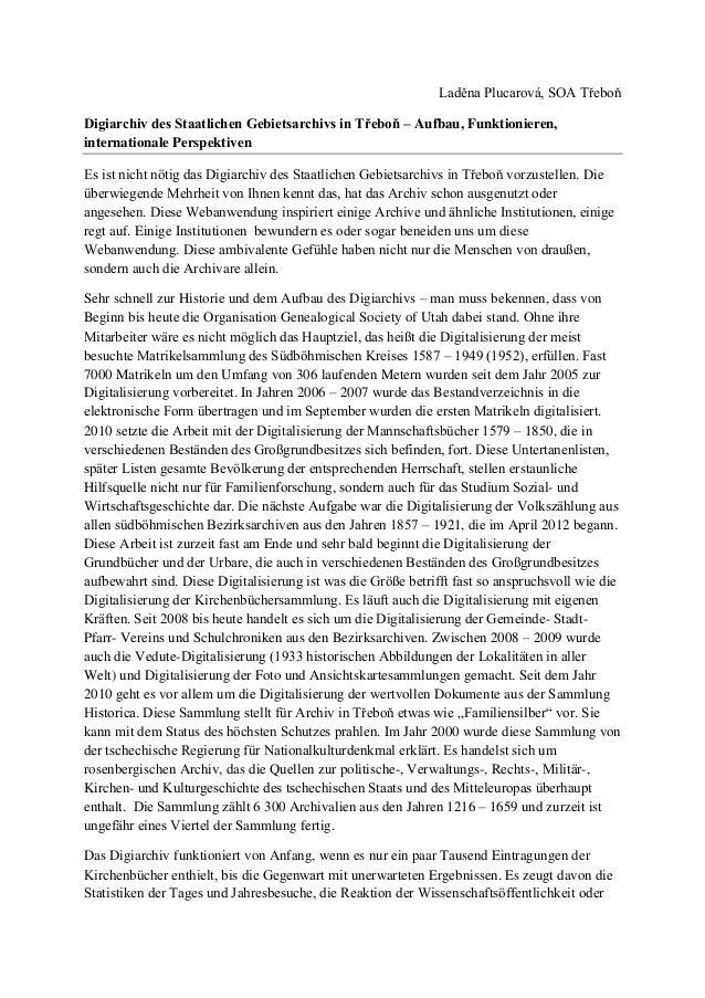 Laděna Plucarová, SOA Třeboň Digiarchiv des Staatlichen Gebietsarchivs in Třeboň – Aufbau, Funktionieren, internationale P...