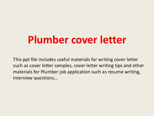 cover letter for plumbing position
