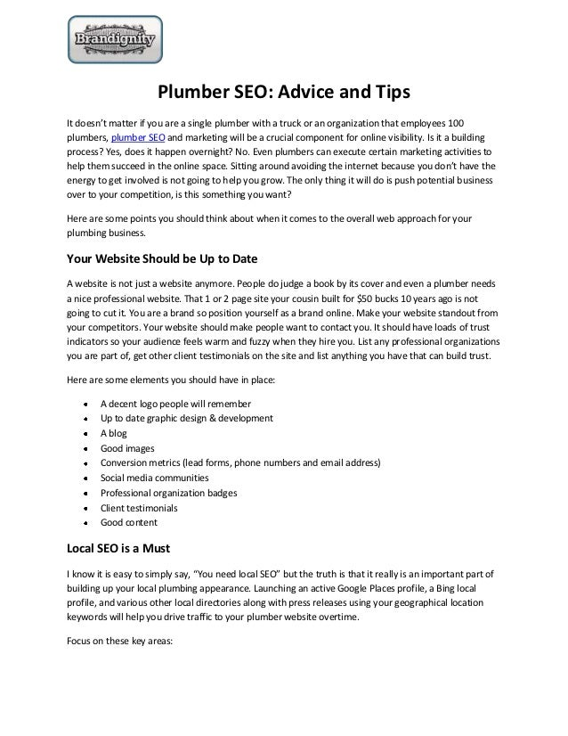 Plumber SEO: Advice and Tips