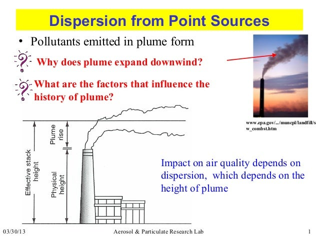 Dispersion from Point Sources     • Pollutants emitted in plume form           Why does plume expand downwind?           W...