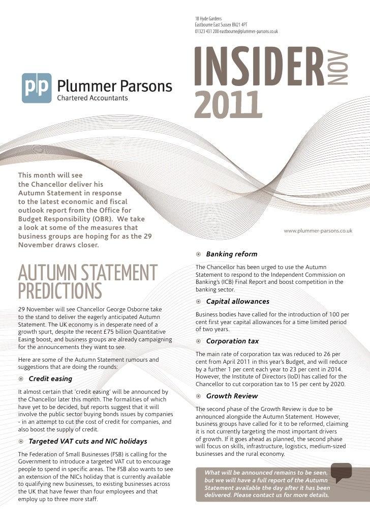 Plummer Parsons Chartered Accountants Mini Guide The Insider November 2011