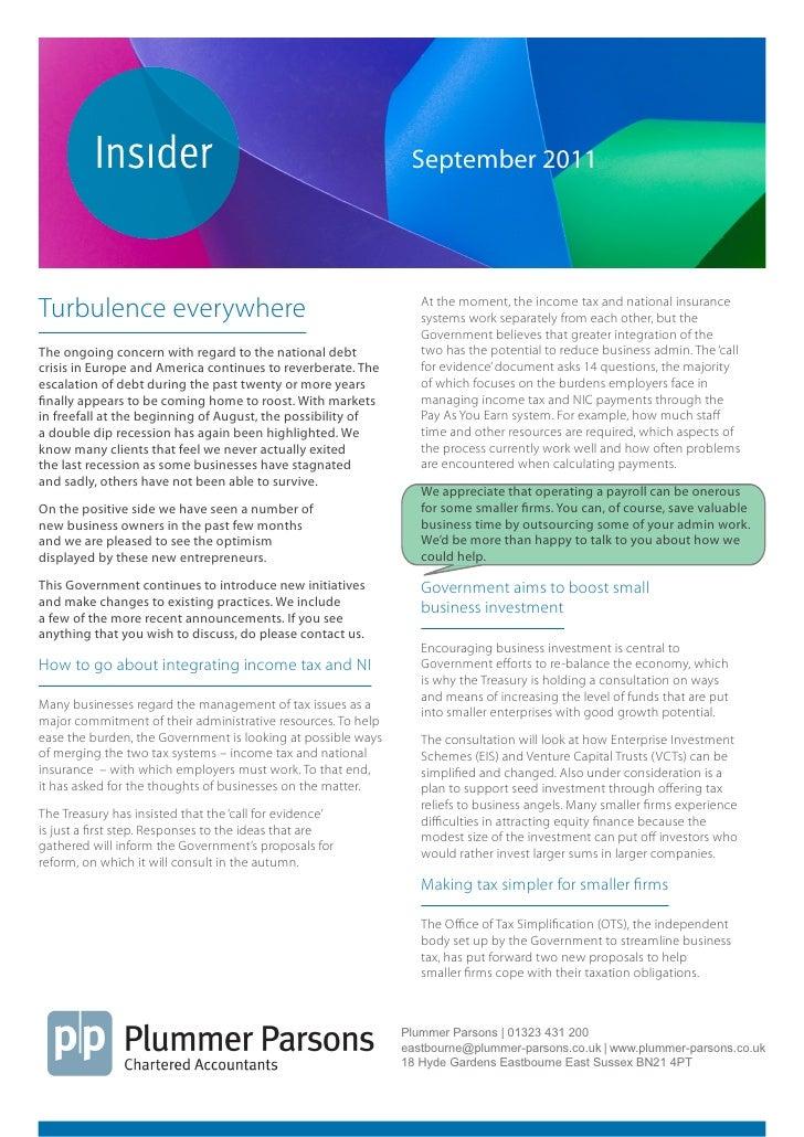 Plummer Parsons Chartered Accountants Mini Guide Insider September 2011