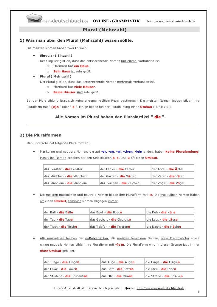 ONLINE - GRAMMATIK                    http://www.mein-deutschbuch.de                                           Plural (Meh...