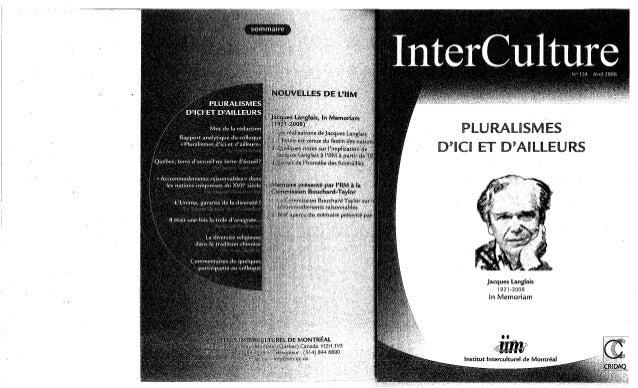154-Pluralisme d'ici et d'ailleurs. K. Das, M. K. Rice, Z. Rhani, Y. El-Ghadban, L. Emongo, A. Ghiglione. (document à télé...
