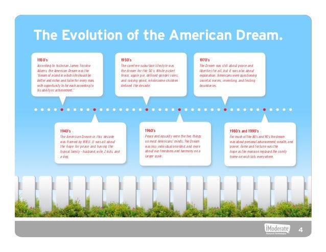 evolution of the american dream The evolution of the american dream what is the american dream if one were to ask this question to a person from each century since the birth of america.