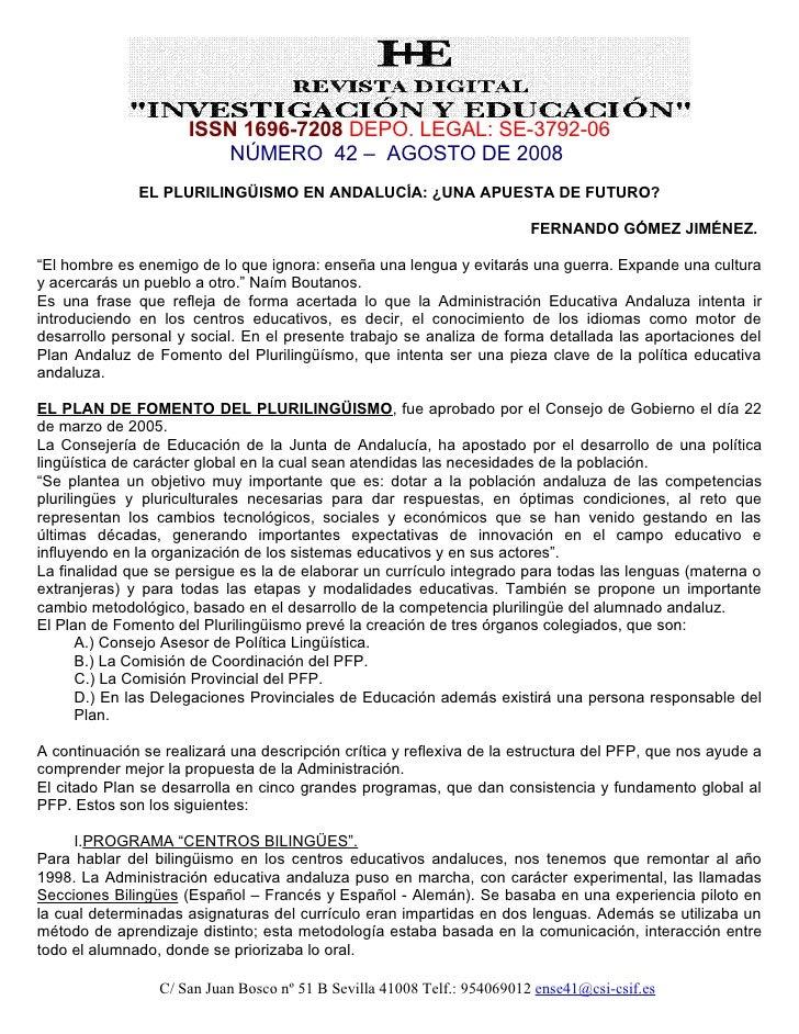 ISSN 1696-7208 DEPO. LEGAL: SE-3792-06                          NÚMERO 42 – AGOSTO DE 2008               EL PLURILINGÜISMO...