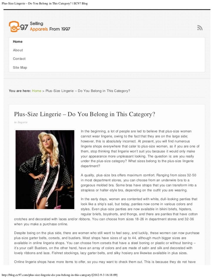 Plus-Size Lingerie – Do You Belong in This Category? | EC97 Blog        Home        About        Contact        Site Map  ...