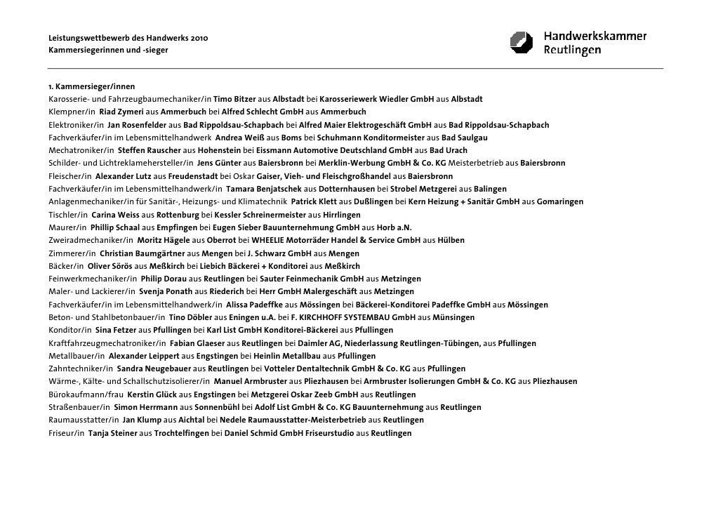 Leistungswettbewerb des Handwerks 2010Kammersiegerinnen und -sieger1. Kammersieger/innenKarosserie- und Fahrzeugbaumechani...