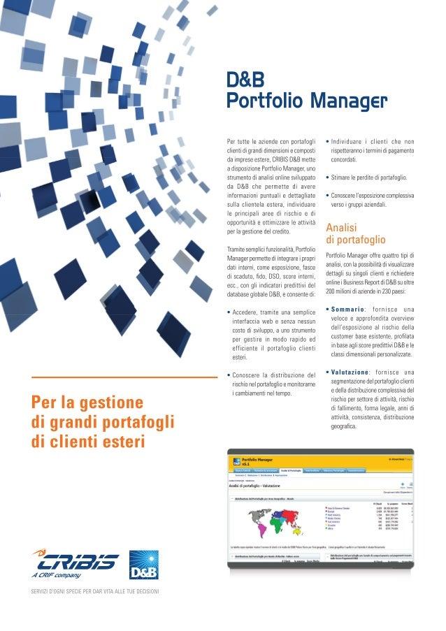 I Nostri Prodotti: D&B PORTFOLIO MANAGER