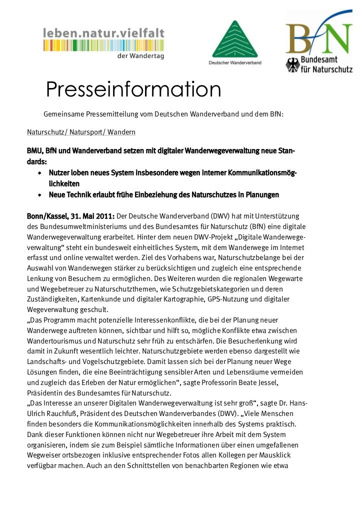 Presseinformation     Gemeinsame Pressemitteilung vom Deutschen Wanderverband und dem BfN:Naturschutz/ Natursport/ Wandern...
