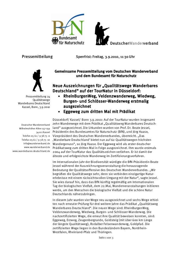 DeutscherWanderverband       Pressemitteilung                              Sperrfrist: Freitag, 3.9.2010, 11:30 Uhr      ...