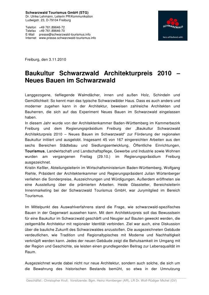 Schwarzwald Tourismus GmbH (STG)Dr. Ulrike Lehmann, Leiterin PR/KommunikationLudwigstr. 23, D-79104 FreiburgTelefon    +49...
