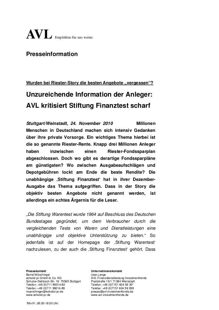 """AVL                  Empfehlen Sie uns weiter.PresseinformationWurden bei Riester-Story die besten Angebote """"vergessen""""?Un..."""