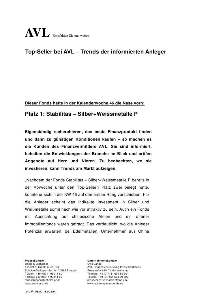 AVL                  Empfehlen Sie uns weiter.Top-Seller bei AVL – Trends der informierten AnlegerDieser Fonds hatte in de...