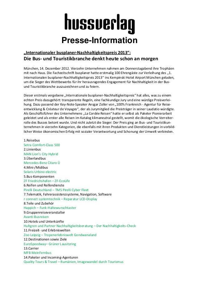 """Presse-Information""""Internationaler busplaner-Nachhaltigkeitspreis 2013"""":Die Bus- und Touristikbranche denkt heute schon an..."""