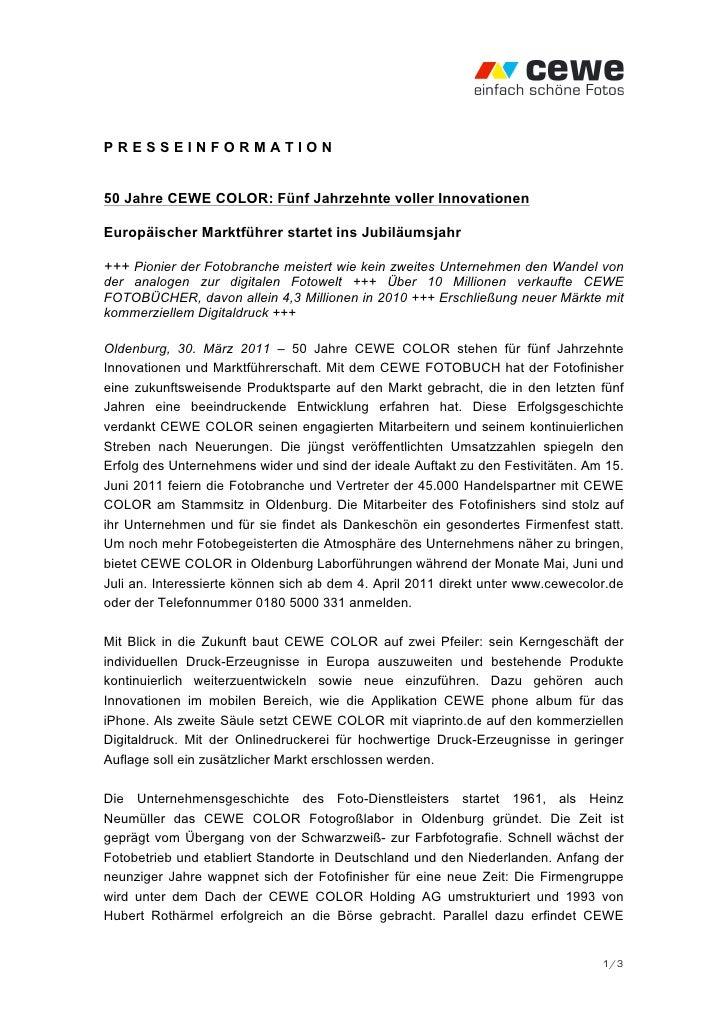 PRESSEINFORMATION50 Jahre CEWE COLOR: Fünf Jahrzehnte voller InnovationenEuropäischer Marktführer startet ins Jubiläumsjah...