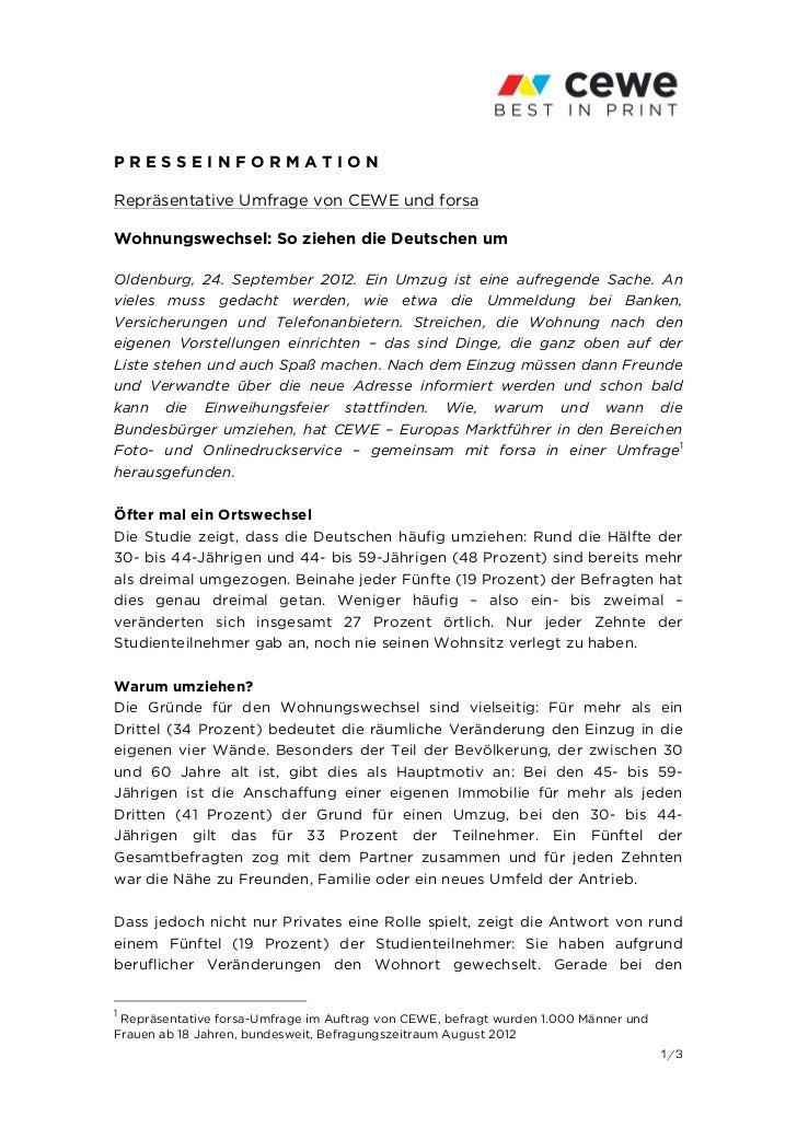 PRESSEINFORMATIONRepräsentative Umfrage von CEWE und forsaWohnungswechsel: So ziehen die Deutschen umOldenburg, 24. Septem...