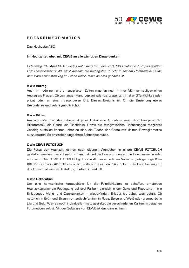 PRESSEINFORMATIONDas Hochzeits-ABCIm Hochzeitstrubel: mit CEWE an alle wichtigen Dinge denkenOldenburg, 10. April 2012. Je...