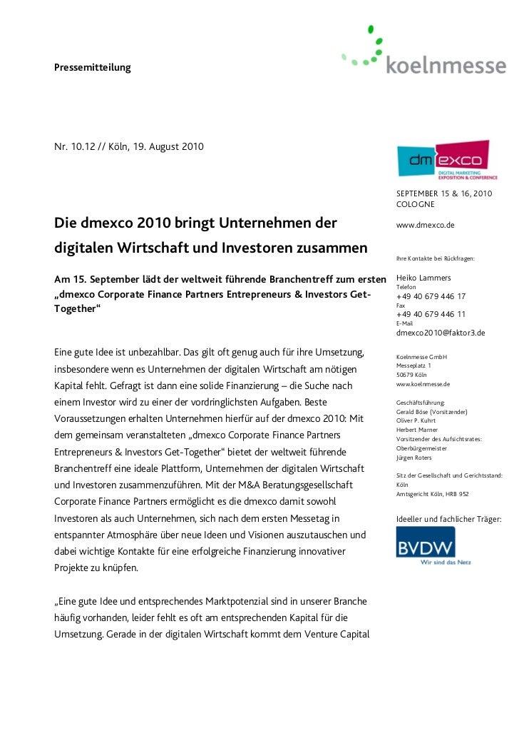 PressemitteilungNr. 10.12 // Köln, 19. August 2010                                                                        ...
