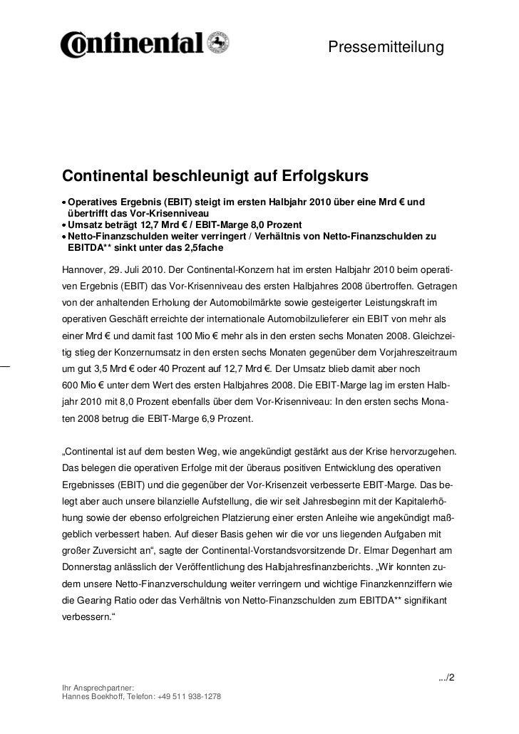 Pressemitteilung                                             -1-Continental beschleunigt auf Erfolgskurs Operatives Ergebn...