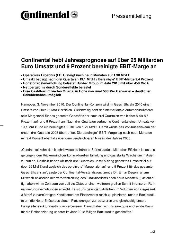Pressemitteilung                                             -1-Continental hebt Jahresprognose auf über 25 MilliardenEuro...