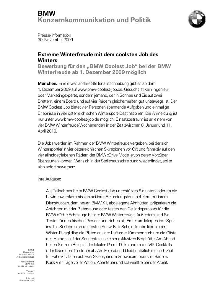 BMW                     Konzernkommunikation und Politik                     Presse-Information                     30. No...